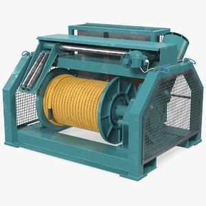 marine mooring winch rigged 3D
