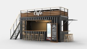 shipping container cafe design 3D model