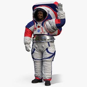 3D female astronaut spacesuit nasa model