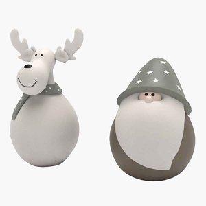 3D model santa claus deer