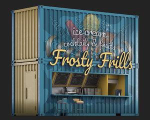 container ice cream restaurant 3D