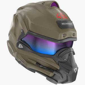 3D sci fi futuristic helmet