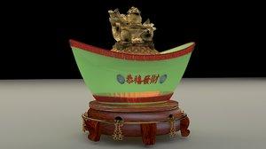 chinese gold ingot model