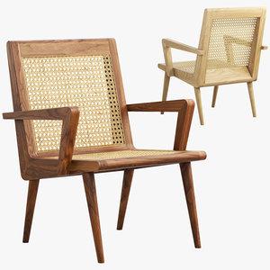 mid-century cane chair 3D