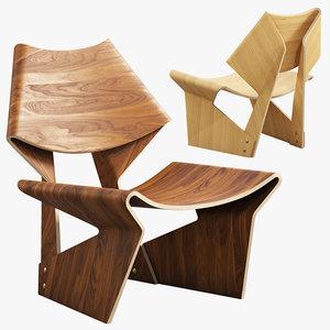 grete jalk chair 3D model