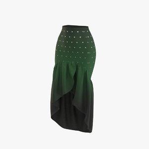 3D skirt dark green
