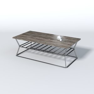 3D wood iron table