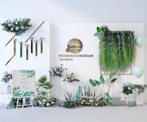 3D model flower plants green