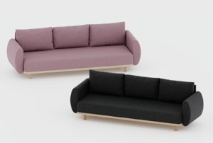 couch pink graphite 3D model