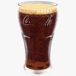 glass coca cola ice cubes model