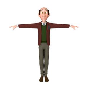 man cartoon professor 02 model