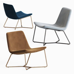3D model westelm slope lounge chair