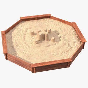 sand castle wooden octagon 3D