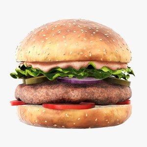 3D food fast hamburger