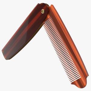 3D folding pocket comb brown model
