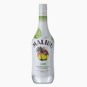 malibu lime rum bottle 3D model