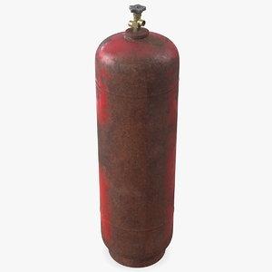 3D model acetylene gas cylinder old