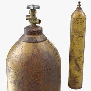 3D oxygen gas cylinder old