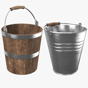 3D model real buckets contains metal