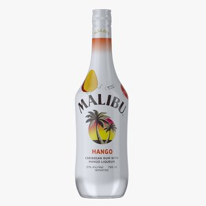 3D model malibu mango rum bottle