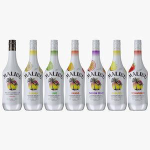 malibu rum liqueur flavors 3D model