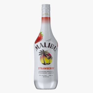 malibu strawberry rum bottle 3D model