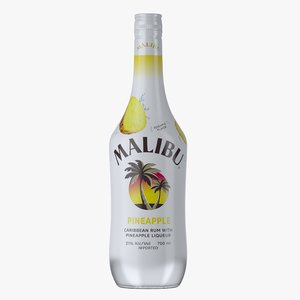 malibu pineapple rum bottle 3D