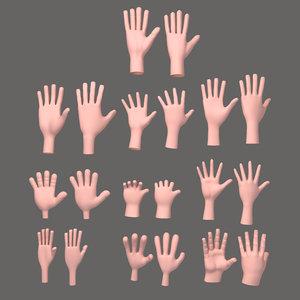 3D 10 hands cartoon
