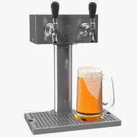 Beer Dispenser Kegerator Tower with Beer Mug