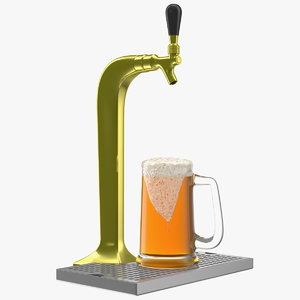 3D single tap brass draft beer model
