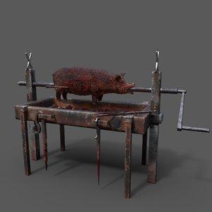 pit pig roast 3D model