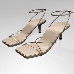 3D stylish square-toe strappy stiletto model
