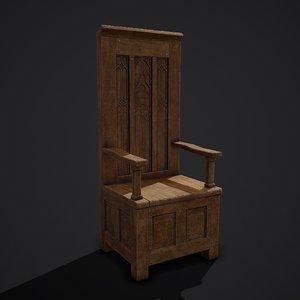 3D medieval royal chair model
