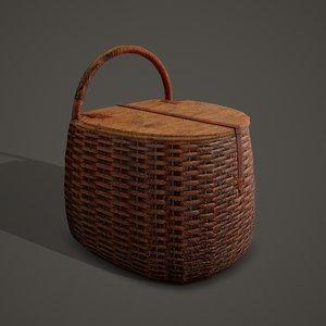 3D medieval style wicker basket model