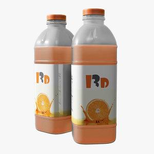 3D model juice bottle mockup