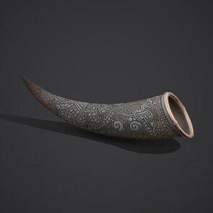 viking drinking horn 3D model