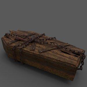 3D wooden coffin hand