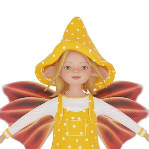 cute cartoon elf yellow 3D model