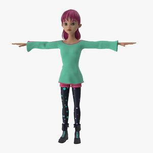female cartoon character annie 3D