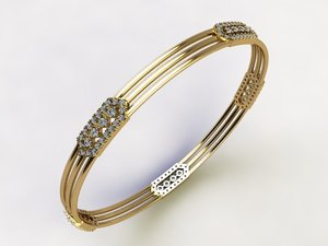 3D model bangles gold silver