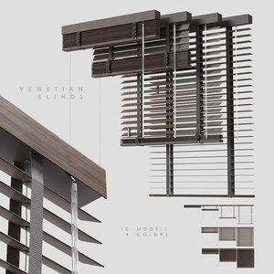 wood venetian blinds 2 3D model