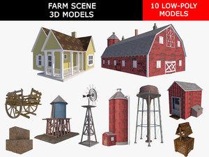 3D model farm scene