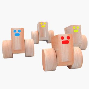 wooden cars laughing 3D
