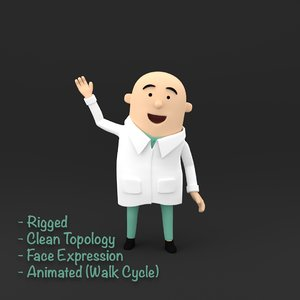 3D doctor character rigged model