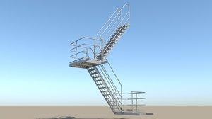 industrial stair 4 3D model