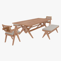 Cassina Jeanneret Capitol Complex Table with Office Chair and Wooden Civil Bench with Cushions Set