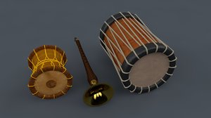 3D chenda indian musical instruments model