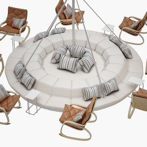 3D okinawa chair set model