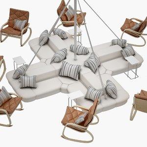 3D daisy chair set