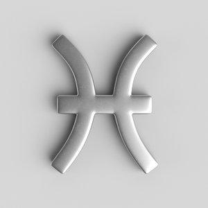 3D model sign pisces